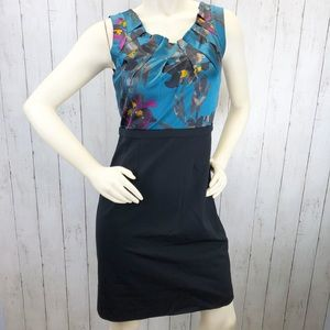 Elie Tahari Silk Wool Floral Career Dress Sz 8